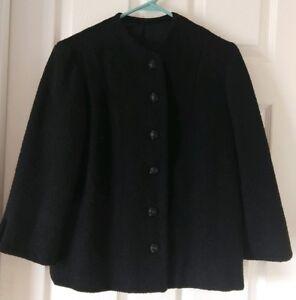 sort 1980s 1970s Vintage knapper tekstureret store jakke med uldforet kogt xPEZyqZ5wB