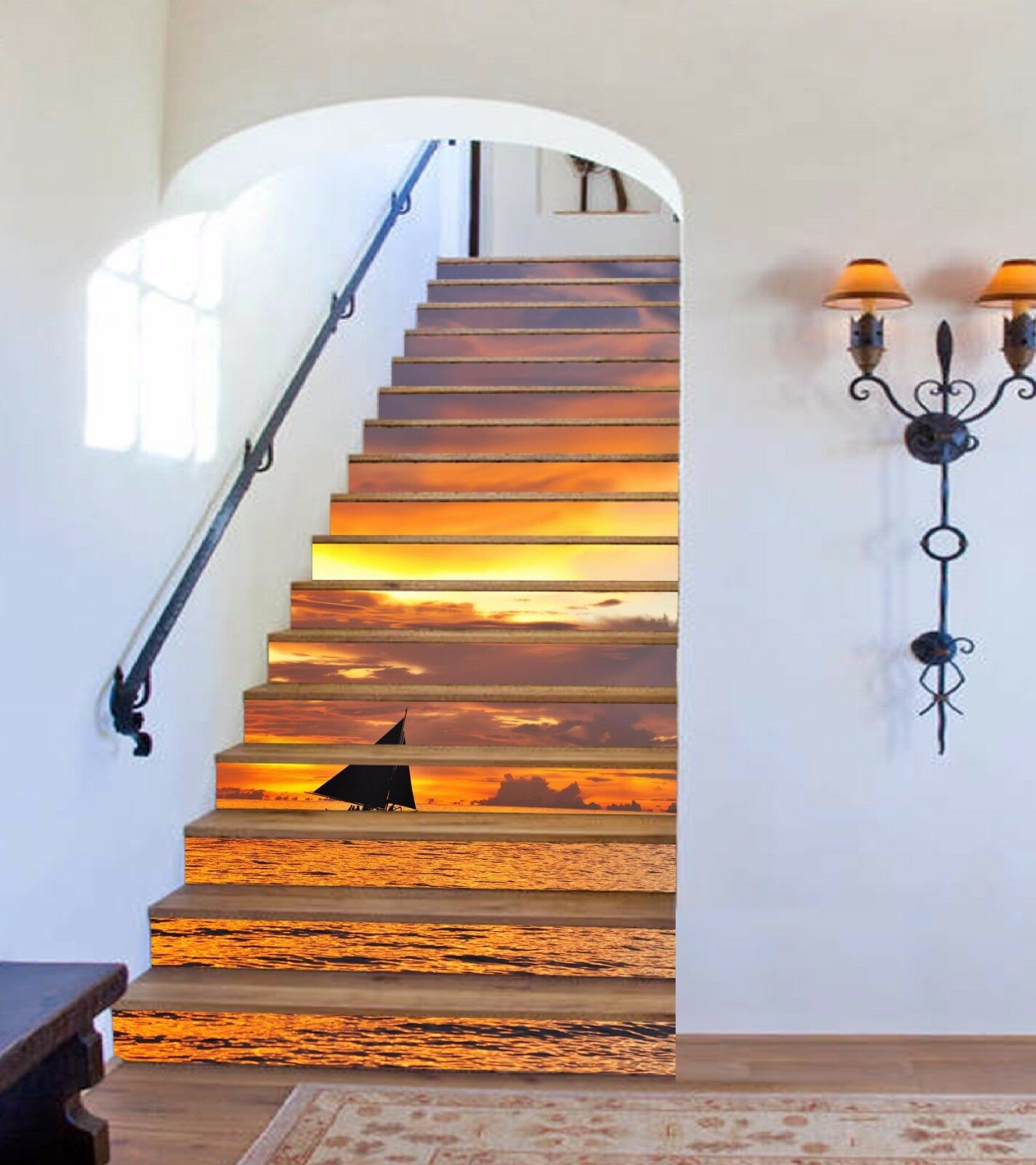 3D Sea Sunset 381 Stairs Risers Decoration Photo Mural Vinyl Decal Wallpaper US