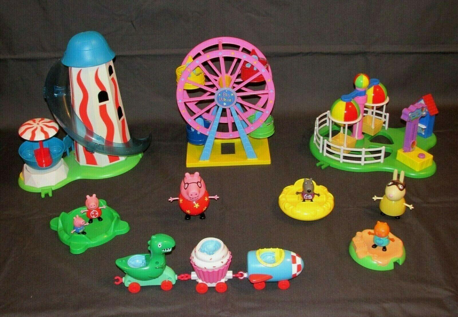 PEPPA PIG FAIRGROUND BUNDLE FERRIS WHEEL HELTER SKELTER BALLOON RIDE FIGURES Spielzeug