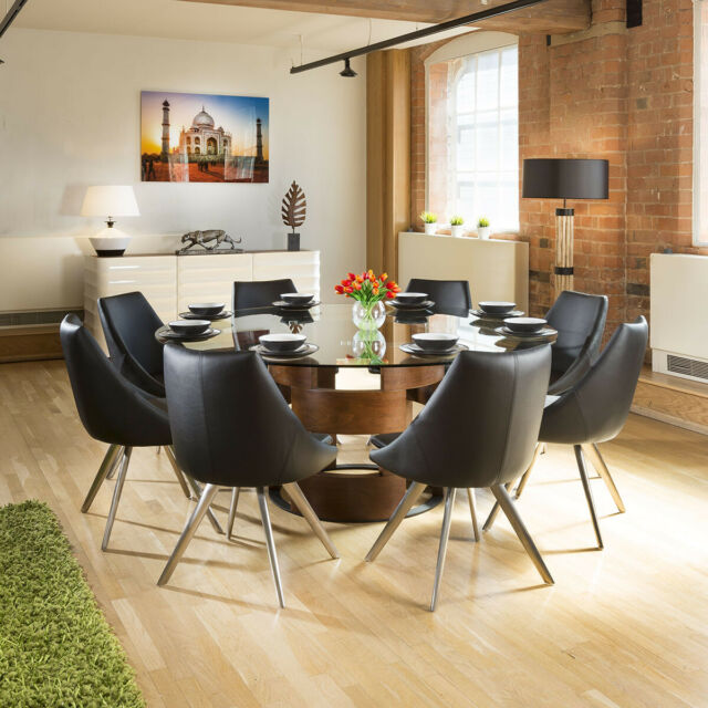 Large Round 1 8m Brown Oak Dining Table 8 Deep Vintage Black Chairs For Sale Ebay
