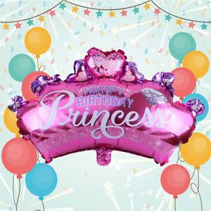 2X-Folienballon-Luftballon-Rosa-Prinzessin-Krone-Geburtstag-Birthday-Party-Deko