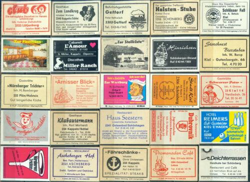 alte Postleitzahl 2300-2341 Kiel 25 alte Gasthaus-Streichholzetiketten #126
