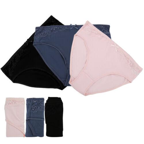 3er Damen Unterwäsche Baumwolle Microfaser Panty Spitze Pack Gr.10-20