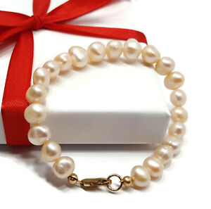 Womens-9ct-Gold-Bracelet-Peach-Pearl-Natural-Freshwater-Jewellery-7-5-inch