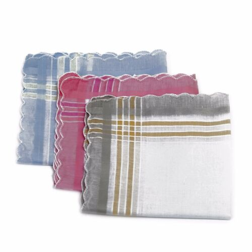 Womens//Ladies Pack Of 3//6//7 Handkerchiefs With Colour Embroidery,Various Colours