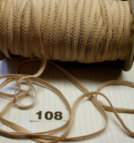 FLESH\NUDE Picot edge 5m  x 10mm Decorative soft elastic lace  trim 108