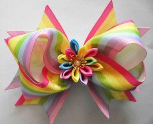 "6 BLESSING Girl 4.5/"" Lotus Hair Bow Clip Rainbow Flower Gilt Silver Ribbon"