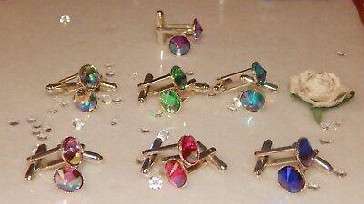 Mens-Ladies-Wedding S//P  Cufflink /& Cravat//Stick Pin Set with 10mm Clear Resin
