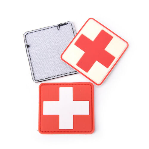 Outdoor Survival First Aid PVC Red Cross Hook Loops Fasteners Badge Patch 6B1 VG