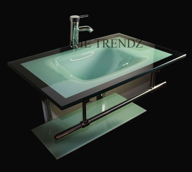 Bathroom Vanity Furniture Aqua Green Tempered Glass Bowl Vessel Sink Faucet  29