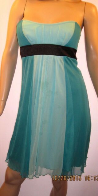 Charlotte Russe Small Greenish Blue Cocktail Dress W/Long Black Ties in Back