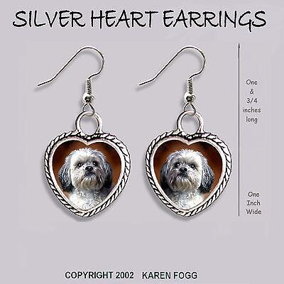 LHASA APSO DOG Sweet Face - HEART EARRINGS Ornate Tibetan Silver