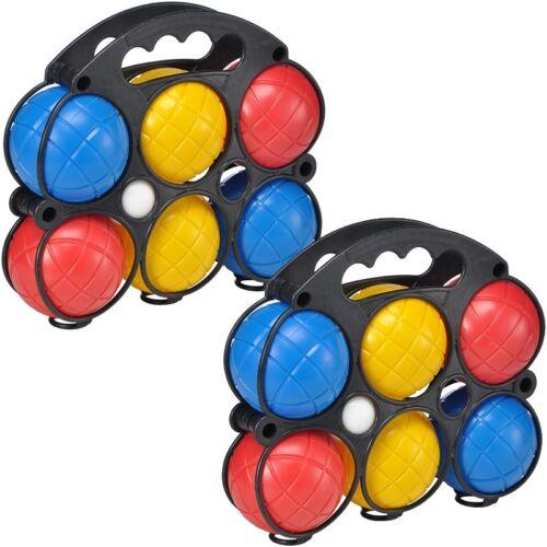 2x Boule-Set bestehend aus 6 bunten Kugeln + Zielball in praktischem Tragekoffer