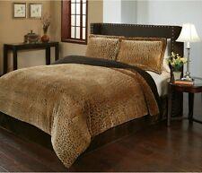 Animal Print Bedding Cheetah Comforter Set King Size Oversized Reversible Velvet
