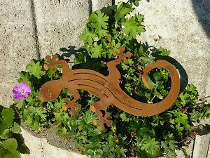 Détails sur Edelrost Gecko, lézard, jardin décoration, Gartendeko, fer,  rouille, métal,- afficher le titre d\'origine