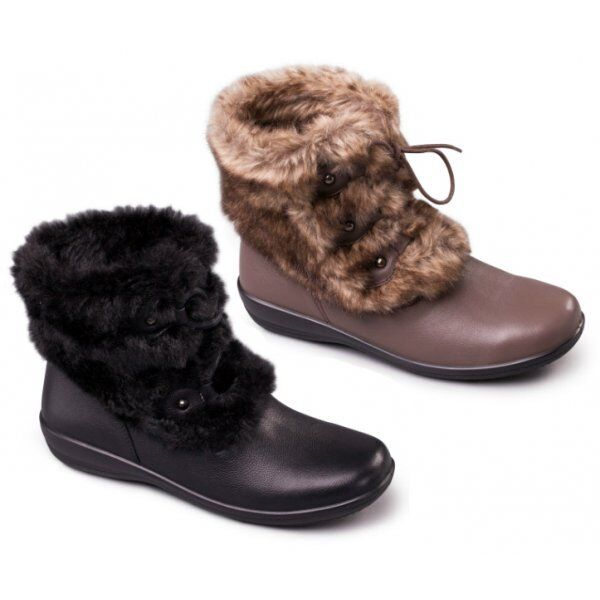 Padders KIM Ladies Womens Leather Extra Wide Fit Faux Fur Trim Warm Ankle Boots