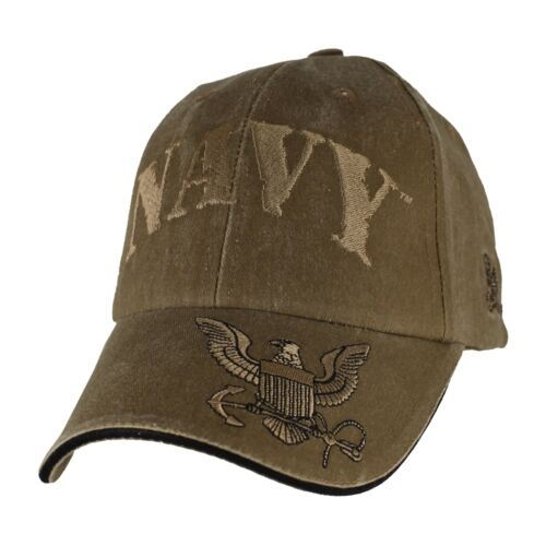 NAVY WITH LOGO ON BILL LOGO COYOTE BROWN WASHED EMBROIDERED HAT CAP