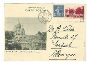 1937-Paris-France-Uprated-90c-Illustrated-View-Postal-Card-to-Erfurt-Germany