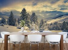 Winter in the Mountains Photo Wallpaper Wall Mural DECOR Paper Poster Free Paste