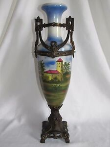 11C21-Antik-Vase-Amphore-Fayence-XIX-Gestell-Legierung-Landschaft-gemalt-Stil
