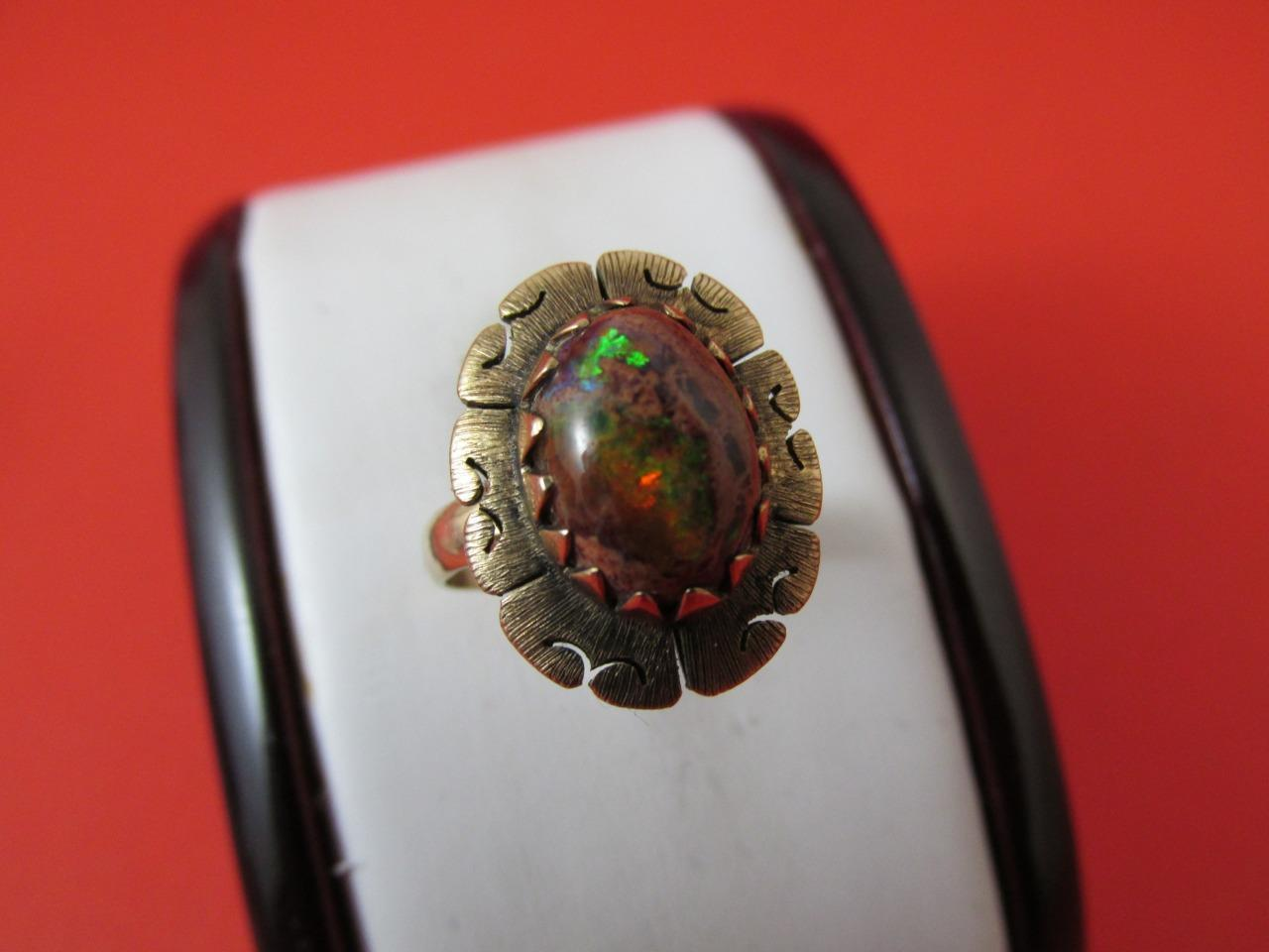 14k Solid Yellow gold Natural Brown Fire Opal Rare Design Setting