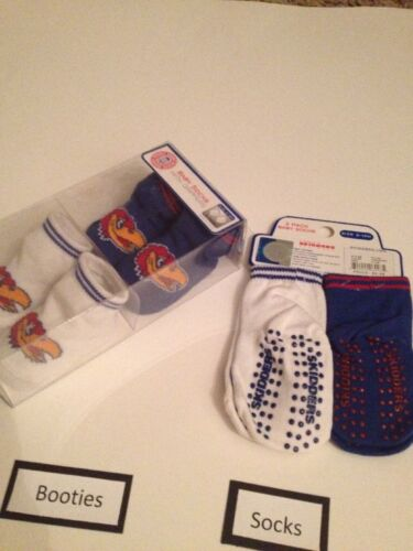 NCAA Kansas Jayhawks Baby Boy Girl Socks Booties Size 0-12 Months Layette