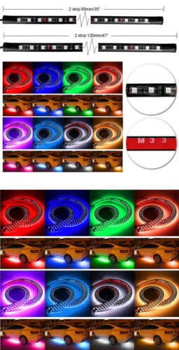 Remote Car Underbody 8-Colors RGB LED Strips Under Music Control Neon Lights