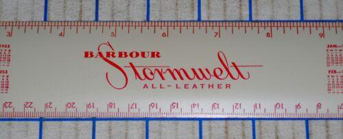 "Vintage 1953 /& 1954 Calendar 12 inch Metal Ruler ""Babour Stormwelt All Leather"""
