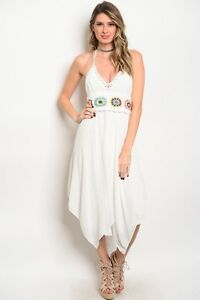 New-White-Boho-Hippie-Crochet-Festive-Halter-Shark-Bite-Hem-Western-Dress-S-M