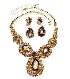 Rhinestone-Austrian-Crystal-Choker-Necklace-Earring-Topaz