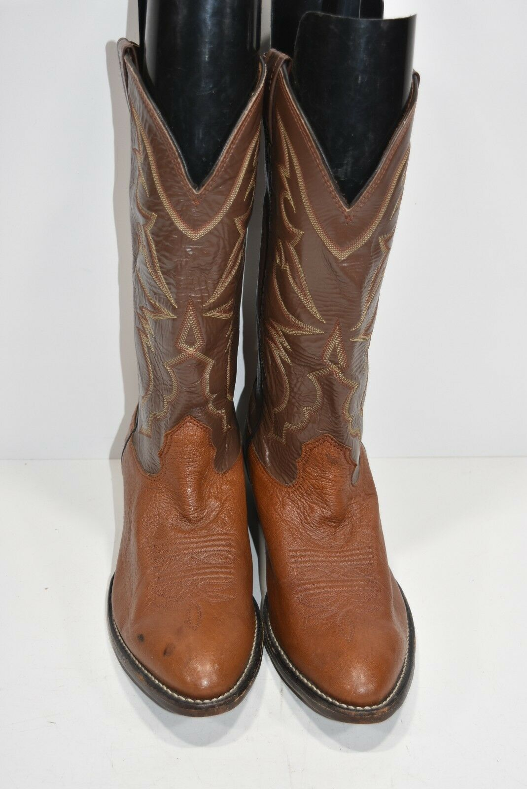 LARRY MAHAN VINTAGE Uomo 11 D SMOOTH OSTRICH BROWN BOOTS LEATHER WESTERN COWBOY BOOTS BROWN 510235