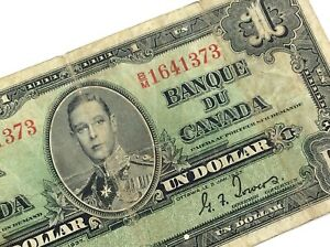 1937-Canada-One-1-Dollar-BM-Prefix-Canadian-Circulated-Banknote-L739