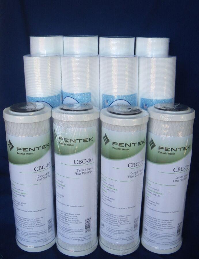 4 PENTEK CBC-10  0.5 Micron Water Filter Cartridge &  8 x 1 Mic Sediment Filters