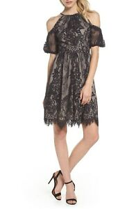 b9831583d0 Details about MAGGY LONDON Black Nude Romantic Chantilly Lace Cold Shoulder Fit  Flare Dress 12