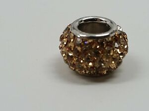BROWN SMOKED TOPAZ CZ CRYSTAL .925 Sterling Silver EUROPEAN Bead Charm