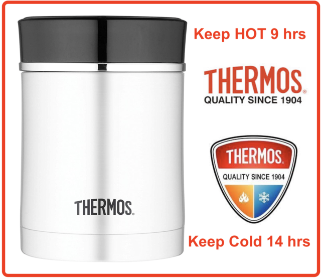 ❤ Thermos STAINLESS STEEL Vacuum Insulated Food Jar Container 470ml Hot 7 Cold 9