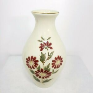 Vintage ZSOLNAY HUNGARY Porcelain Hand Painted Vase Flowers Gold Trim