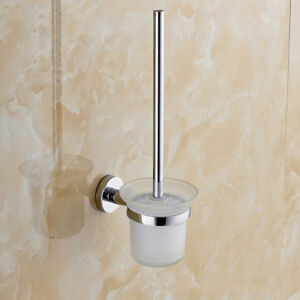 Toilet Brush Holder Set Wall Mounted Stainless Steel Handle Glass Bathroom WC