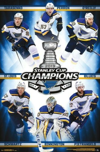 ST LOUIS BLUES HOCKEY 17721 22x34 2019 STANLEY CUP CHAMPIONS POSTER