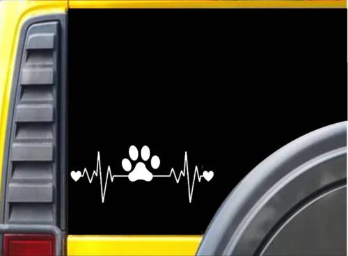 Dog Rescue Lifeline K259 8 Inch paw heartbeat decal