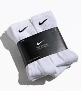 Nike Everyday Cotton Cushioned Crew Socks White 6 Pair DRI-FIT Large Pack Men's | eBay