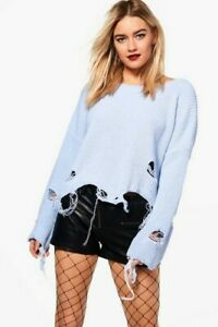 Blue-cropped-jumper-ripped-style-punk-baggy-loose-size-S-M