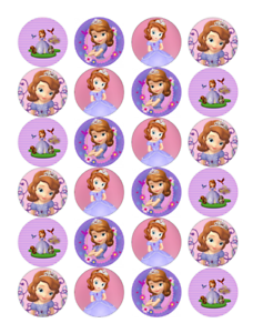 24 x Large Sofia the First Edible Cupcake Toppers Birthday ...