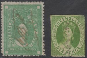 Green-Chalon-stamps-Queensland-1870s-One-Shilling-Six-Pence-Queen-Victoria-QLD