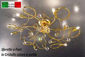 Plafoniere Cristallo Prezzi : Lampadario plafoniera moderna soffitto luci oro cristallo