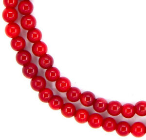 16-034-CUTE-TINY-Red-Bamboo-Coral-Round-105-Beads-4mm-K1616