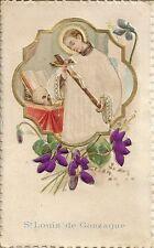 CHROMO IMAGE PIEUSE GAUFREE SAINT LOUIS DE GONZAGUE FORMAT 6.5 x 11 cm
