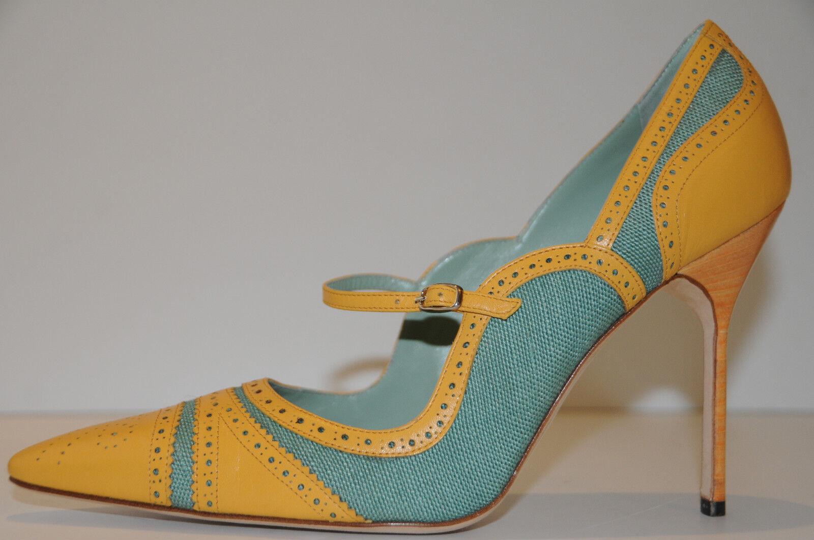865 Nuevo Manolo Blahnik estipula verde verde verde Amarillo penetrar Mary Jane Zapatos 41 10.5  ventas en línea de venta