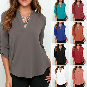 S-XXXL-Women-V-Neck-Chiffon-Long-Sleeve-Casual-Loose-Shirts-Blouse-Top-T-Shirt
