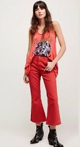 91946cb855db NEW Free People Chloe Crop Flare Leg Jeans in Red Rouge Size 31